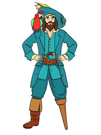 One-legged captain, wooden foot, man is a pirate, a sailor. Vector, Object isolated on white background