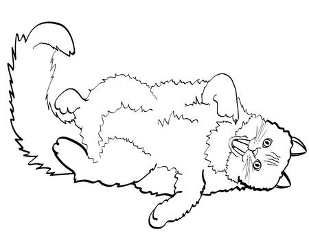 Enfants à colorier, lignes noires, chat fond blanc couché sur le dos et montrant le doigt dans la bouche. Vecteur, style bande dessinée imitation