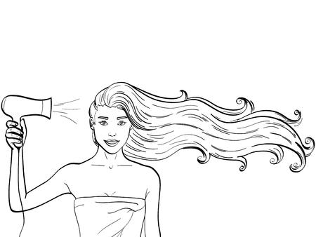 Objeto Niños para colorear, líneas negras, fondo blanco. Una chica con el pelo largo seca un secador de pelo. Publicidad de champú. vector