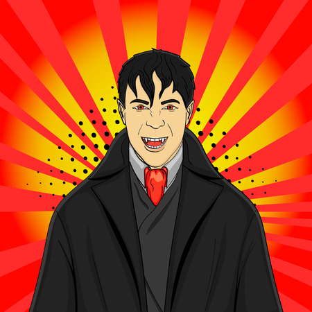 Pop art man vampire in a suit on a red background. imitation comic style, vector