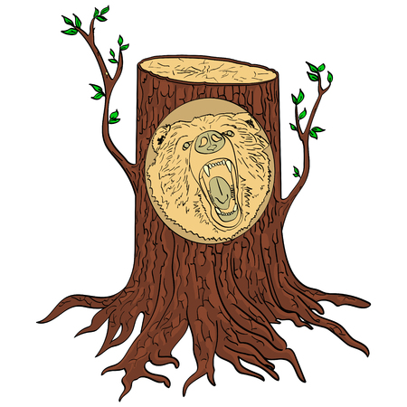 Isolated object on white background Carved wooden bear portrait from a tree in the forest. art imitation, vector illustration