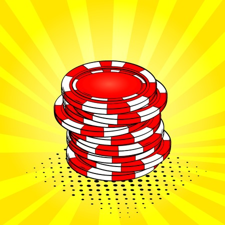 Pop art background, sun, vintage, yellow color. Playing chips, casino. Vector