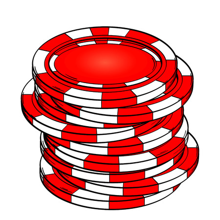Isolated object on white background.. Playing chips, casino. Vector Illustration