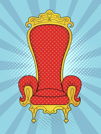 Pop art background blue rays of the sun. The object of the interior, the throne of the king. Vector Illustration