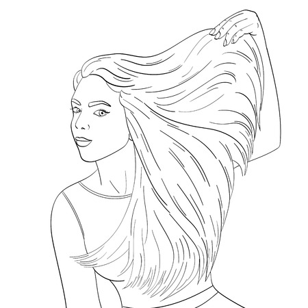 Isolated object coloring, black lines, white background. A young girl advertises shampoo, long hair. Vector illustration