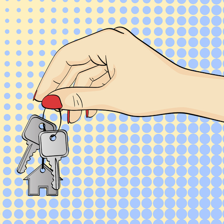 Pop art background. The hand transmits, gives the keys. ownership of the house. Real estate agency, symbol symbol. Vector illustration