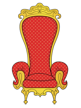isolated on white background. The object of the interior, the throne of the king. Vector illustration Illustration