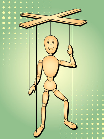 Pop art background. The object is a toy man, a puppet on the thread. Vector illustration marionette Illustration