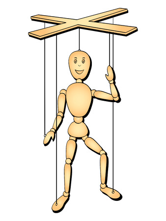 Oggetto isolato su sfondo bianco. L'oggetto è un uomo giocattolo, un burattino sul filo. Marionetta di illustrazione vettoriale