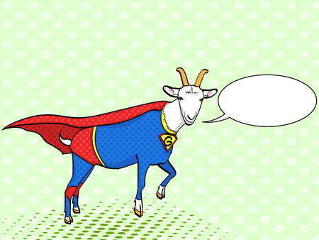 Pop art background. Flies Goat Animal Dressed As Superhero With clothes Vigilante Character. Comic style, vector illustration text, bubble