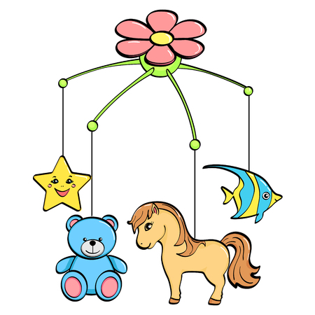 Isolated object on white background. A musical toy over a cradle for a child. The subjects are horse, flower, star, bear and fish. vector illustration