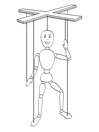 isolated object coloring, black lines, white background. . The object is a toy man, a puppet on the thread. Vector marionette