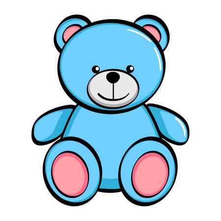 Objeto aislado sobre fondo blanco. Un oso azul, un juguete. Vector