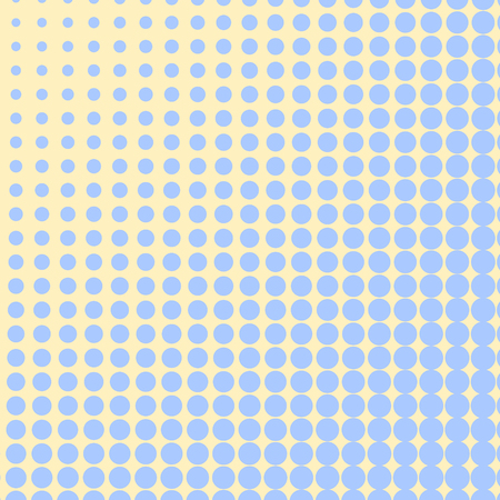 Pop art background, blue color turns into yellow. Circles, balls of different shapes. Vector illustration