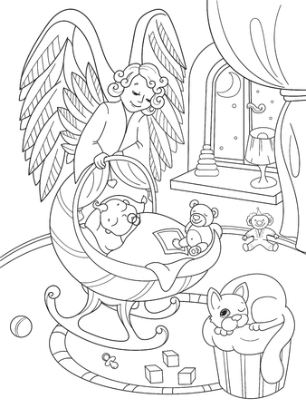 Cartoon, coloring book. The Guardian Angel protects the babys sleep. Interior of the childrens room