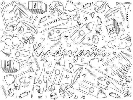 Jardín de infantes para colorear vector de diseño de arte de línea de libro. Objetos separados. Elementos de diseño de doodle dibujados a mano. Ilustración de vector