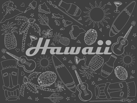 Hawaii piece of chalk line art design vector. Separate objects. Hand drawn doodle design elements.