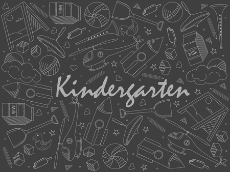 Kindergarten piece of chalk line art design vector. Separate objects. Hand drawn doodle design elements.