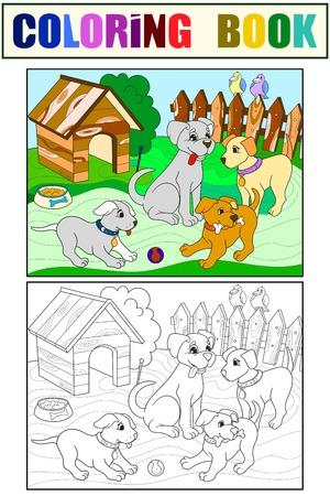 Colore dei bambini e famiglia del fumetto del libro da colorare sulla natura. Mamma cane e cuccioli bambini. Per l'illustrazione vettoriale di adulti. Antistress per adulti.