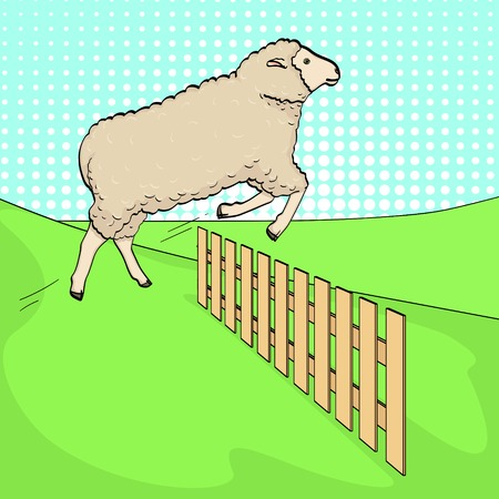 Pop art background, the sheep jumps over the fence. Training animals on the farm. Vector