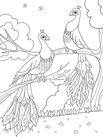 Cartoon coloring for children. A bird, a feather of a bird or a peacock on a tree. Couple in love.