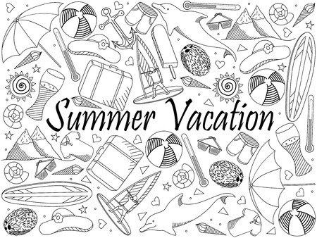 Line art objects on a white background. Theme of travel, summer vacation. Vector over white background