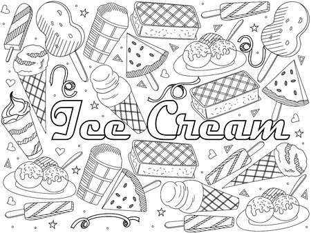Objects of linear art on a white background. Theme of public catering, summer vacation, a set of various ice-cream Vector illustration Çizim