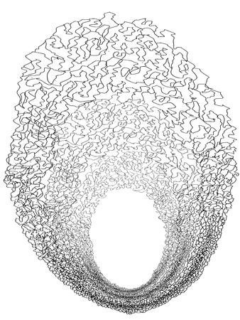 A black hole is a region of spacetime. Scribbles, style  . Black and white. Banque d'images - 106414691