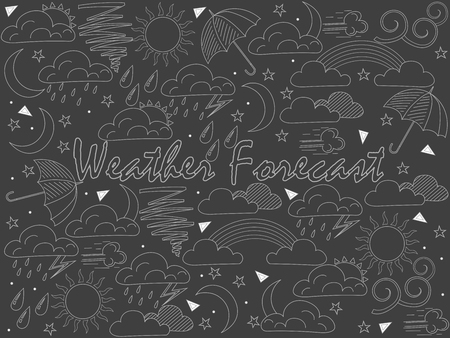 Objects of linear art piece of chalk. Weather forecast, news. Vector illustration Иллюстрация