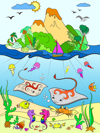 Underwater world with fish, plants, island and caravel color for children cartoon raster illustration Stock Photo