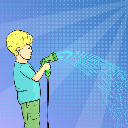 Pop art background. A child, a little boy watering a garden, a garden with a hose of water. Vector illustration