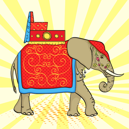 Pop art background, Elephant in India, a sacred animal, decorations for a holiday. Vector
