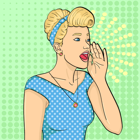 Pop art background. Retro girl screaming, gramophone. Vector Illustration