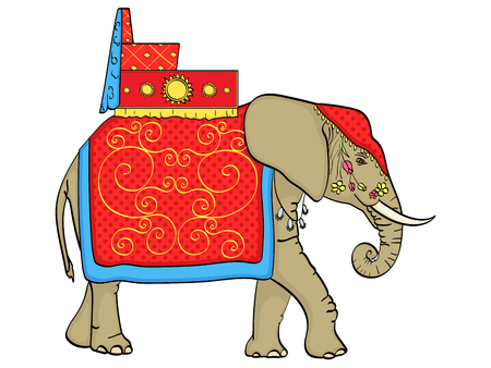 isolated object on white background, Elephant in India, a sacred animal, decorations for a holiday. Vector