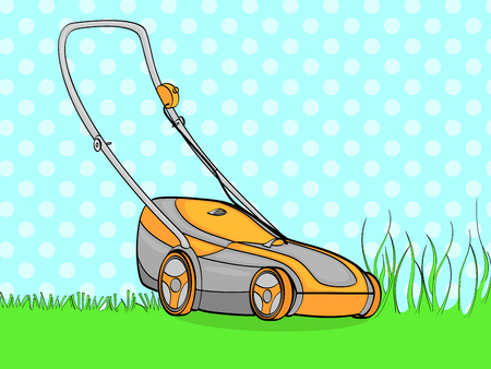 pop art background, blue. Electro machine, lawn mower. We remove the grass. vector illustration