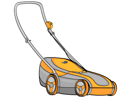 isolated object on white background. Electro machine, lawn mower. We remove the grass. vector illustration