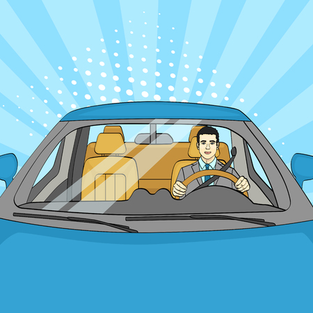 Successful Businessman in Luxury Car. Man Driving a Cabriolet. Pop Art. Vector illustration