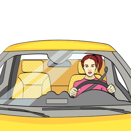 isolated object on white background. The woman at the wheel, the car. Vector illustration.