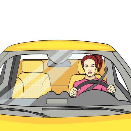 oggetto isolato su sfondo bianco. La donna al volante, la macchina. Illustrazione vettoriale.