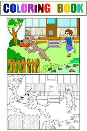 Playing a boy in nature with a dog in flying disk coloring book for children cartoon raster. Color, Black and white