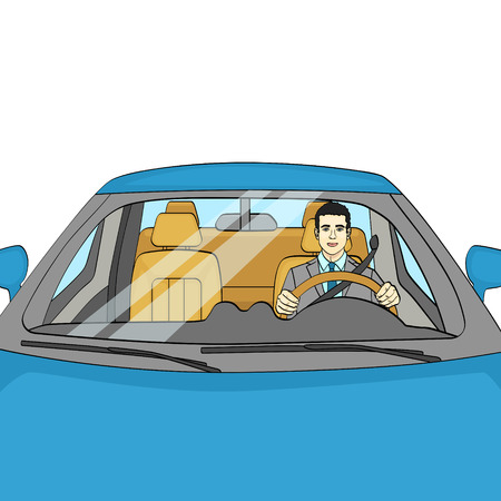Successful Businessman in Luxury Car. Man Driving a Cabriolet. isolated object on white background Vector illustration Standard-Bild - 110240333