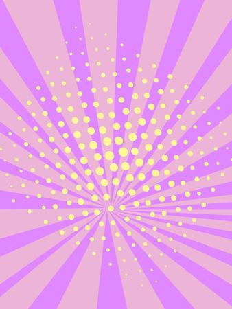 Pop art background, purple and pink. Sun rays, imitation comic style. Vector