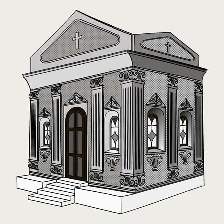 Shades of gray, raster. Crypt, cemetery, church, building. Фото со стока