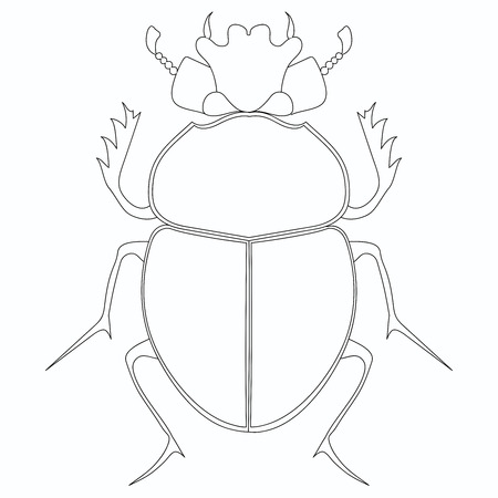 Coloriage raster. Scarabée égyptien. Grand insecte Banque d'images
