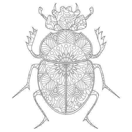 Anti-stress coloring book raster. Egyptian Scarab beetle. Stock Photo