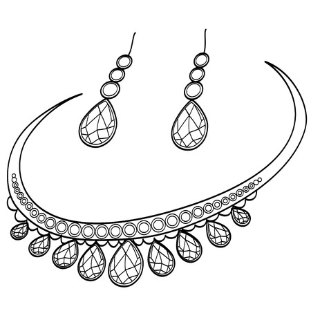 Diamond necklace and earrings. Coloring book raster