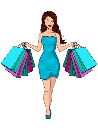 Girl with shopping. I bought a lot of clothes. Gift bags fashion. Object on white background raster illustration