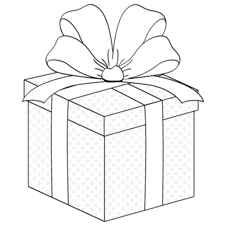 Gift box, surprise with ribbon. Coloring raster 免版税图像