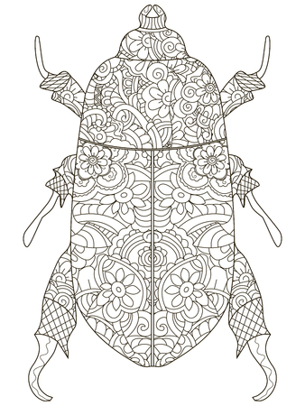 Darkling beetle. Anti Stress Coloring Book. Raster object Egyptian beetle. Black lines on a white background.