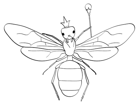 isolated object coloring, black lines, white background. . The insect, the head of the ants, the queen in the crown and the scepter. Vector illustration, comic imitation.